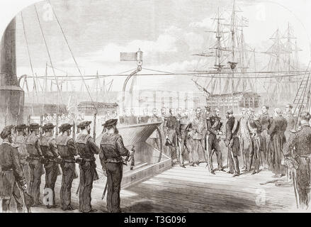 The International Naval Festival at Portsmouth, England, 1865.  The French Naval Minister receiving Admiral of the Fleet, Sir Edward Hobart Seymour on board the French Imperial yacht Reine Hortense, 1865.  From The Illustrated London News, published 1865. - Stock Image