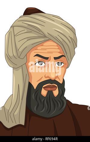 A vector illustration of Al-Khwarizmi Muslim Scholar - Stock Image