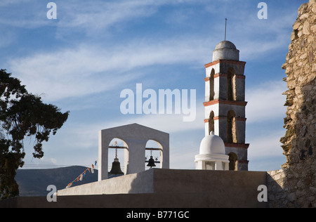 BELL TOWERS of a CHURCH in the ghost town of MINERAL DE POZOS now a small artist colony & tourist destination - Stock Image