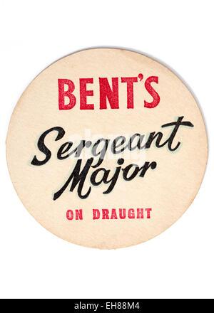 Vintage Beermat Advertising Bents Sergeant Major Beer on Draught - Stock Image