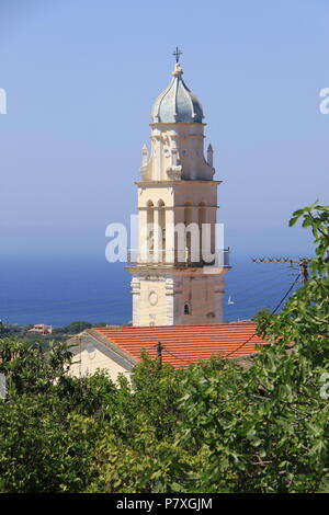 View of Metaxata church and the Ionoian Sea from the village of Korkoumelata in Kefalonia, GREECE, PETER GRANT - Stock Image