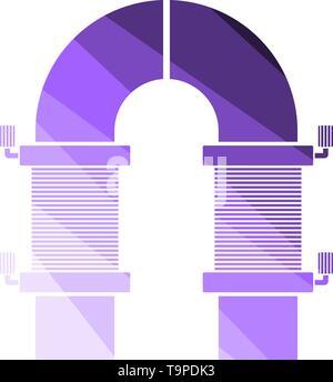 Electric Magnet Icon. Flat Color Ladder Design. Vector Illustration. - Stock Image