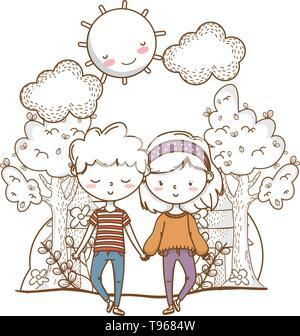 Romantic love couple cute stylish outfit bandana sweater background vector illustration graphic design - Stock Image