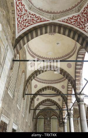 Interior of The Blue Mosque, (Sultanahmet Camii), Istanbul, Turkey. - Stock Image