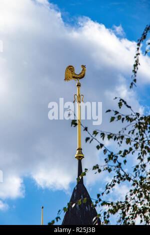 golden rooster is a fabulous symbol of Russian fairy tales danger warning Ukraine. Kiev 06.11.2018 - Stock Image