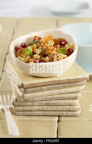 Masfouf (sweet couscous with walnuts and pomegranate) - Stock Image