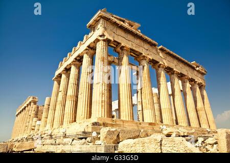 Parthenon on the Acropolis in Athens, Greece - Stock Image