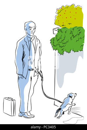 Dog and owner.  Businessman waiting for her dog peeing. - Stock Image