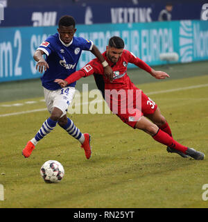 Gelsenkirchen, Germany. 16th Feb, 2019. Rabbi Matondo (L) of Schalke 04 vies with Vincenzo Grifo of Freiburg during the Bundesliga match between FC Schalke 04 and SC Freiburg in Gelsenkirchen, Germany, Feb. 16, 2019. The match ended in a 0-0 draw. Credit: Joachim Bywaletz/Xinhua/Alamy Live News - Stock Image