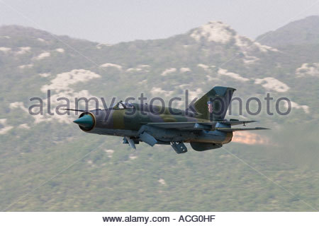 Croatian Air Force Mig-21 BISD trailing afterburner jet in very low fly by - Stock Image