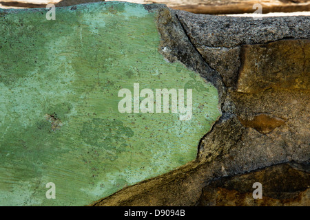 Close up of original (aprox. 300 yo) plaster work on a wall in historical building, San Antonio, Texas - Stock Image