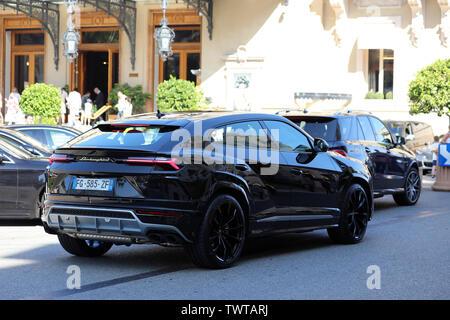 Monte-Carlo, Monaco - June 21, 2019: Beautiful Black Lamborghini Urus SUV (Rear View) Parked In Front Of The Monte Carlo Casino In Monaco On The Frenc - Stock Image