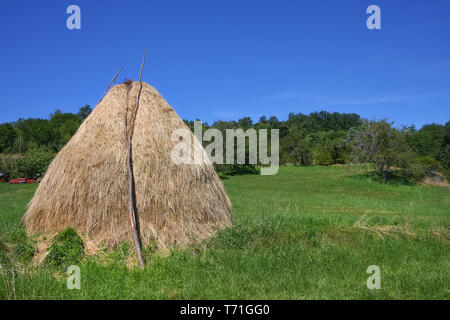 Field with haystack. Rural summer landscape with blue sky, clouds, haystack - Stock Image