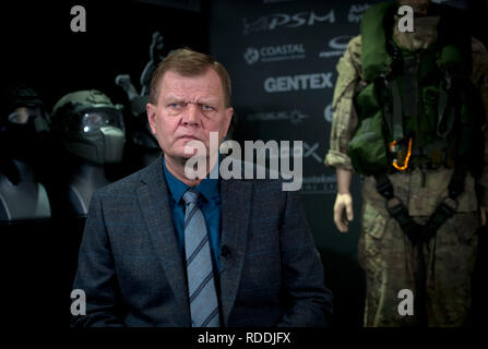 Prague, Czech Republic. 18th Jan, 2019. Josef Becvar, former Czech chief of staff and new president of the firm Glomex Military Supplies, poses during an interview for the Czech News Agency (CTK) in Prague, Czech Republic, on January 18, 2019. Credit: Katerina Sulova/CTK Photo/Alamy Live News - Stock Image