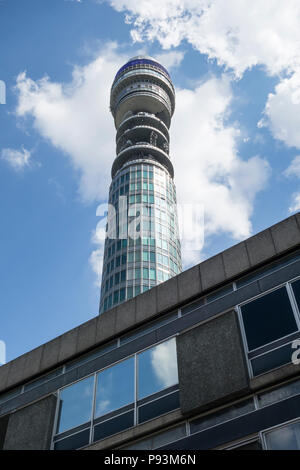 The BT Tower -  a communications tower in central London. Previously know as the GPO Tower, the Post Office Tower and the Telecom Tower. - Stock Image