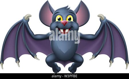 Cute Halloween Vampire Bat Animal Cartoon - Stock Image
