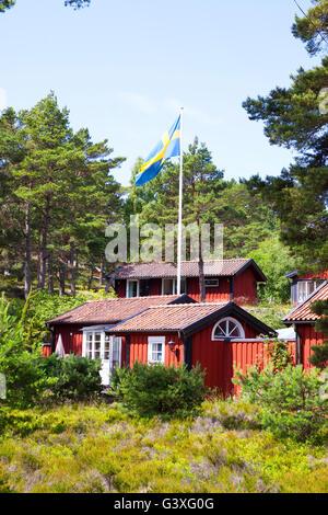 Swedish log cabins - Stock Image