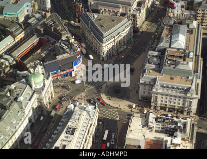 Aerial view of Piccadilly Circus with the statue of Eros in London's West End - Stock Image