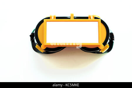 Welders eye protection goggles with isolated glass for overlays and text for construction welding ideas - Stock Image
