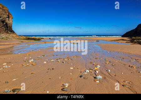 Porth Chapel Beach, Cornwall, UK, early one summer morning. - Stock Image