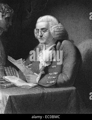 Benjamin Franklin (1706-1790) on engraving from 1835. One of the Founding Fathers of the United States. - Stock Image
