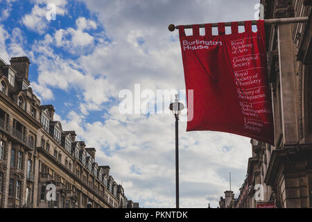 LONDON, UNITED KINGDOM - August 13th, 2018: architecture in London city centre in Piccadilly Street at Burlington House - Stock Image