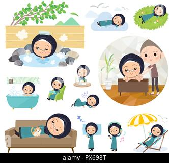 A set of old women wearing hijab about relaxing.There are actions such as vacation and stress relief.It's vector art so it's easy to edit. - Stock Image