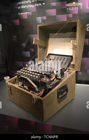 One of the first Typex Machines, on display at Bletchley Park, Milton Keynes, Buckinghamshire, UK - Stock Image
