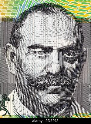 John Monash (1865-1931) on 100 Dollars 1996 banknote from Australia. Civil engineer who became an Australian military - Stock Image