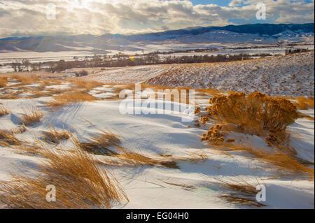 Winter Mountain River Landscape - Stock Image