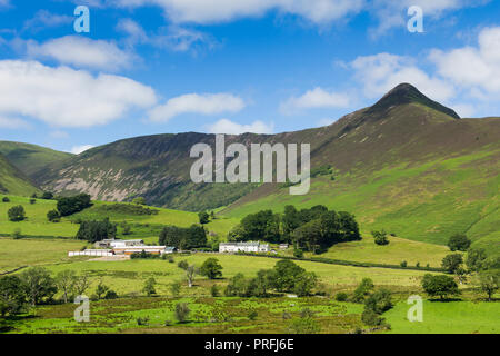 Newlands valley Cumbria, looking north-west from Littletown towards Birkrigg, Derwent Fells and Causey Pike  rising sharply to 637 metres on the right - Stock Image