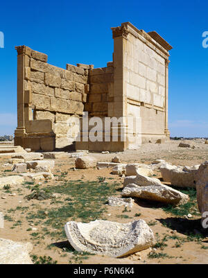 Syria. Palmyra. Remains of one of the temples. Oasis of Tadmor. Picture taken before the Syrian Civil War. These ruins were demolished by ISIS in 2015. - Stock Image