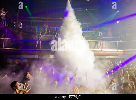 People on the dance floor at Amnesia club in Ibiza - Stock Image