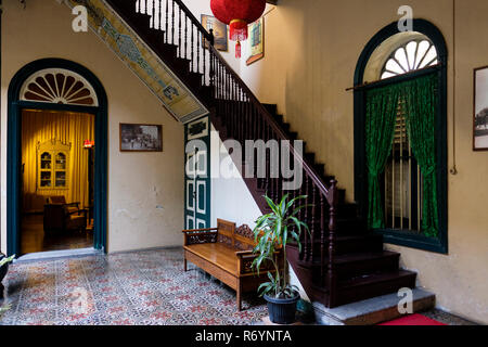 Stairway to first floor, Tjong A Fie Mansion, Medan, North Sumatra, Sumatra, Indonesia. - Stock Image