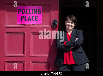 Scottish Conservative party leader Ruth Davidson after casting her vote in the European Parliamentary election at the polling station in the Wilson Memorial Church Hall, Edinburgh. - Stock Image