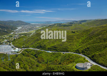 Haywards Substation and Haywards Hill Road, Lower Hutt, Wellington, North Island, New Zealand - aerial - Stock Image
