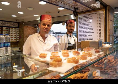 Patisserie shop selling Baklava in Istanbul in Turkey. - Stock Image