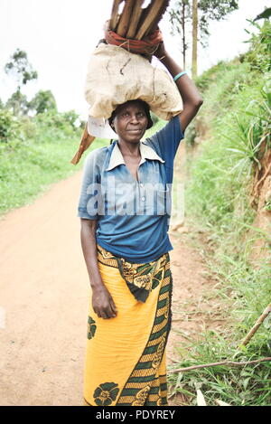 Ugandan woman carrying bundles of wood on her head smiling at camera - Stock Image