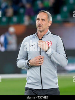 Wolfsburg, Germany. 22nd Apr, 2019. Soccer: Bundesliga, 30th matchday: VfL Wolfsburg - Eintracht Frankfurt in the Volkswagen Arena. Frankfurt coach Adolf Hütter is in the arena before the match. Credit: Peter Steffen/dpa - IMPORTANT NOTE: In accordance with the requirements of the DFL Deutsche Fußball Liga or the DFB Deutscher Fußball-Bund, it is prohibited to use or have used photographs taken in the stadium and/or the match in the form of sequence images and/or video-like photo sequences./dpa/Alamy Live News - Stock Image