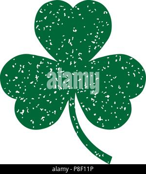 Green clovers, isolated vector illustration - Stock Image