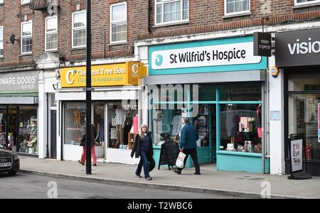 Uckfield East Sussex England UK - Charity shops in the High Street - Stock Image