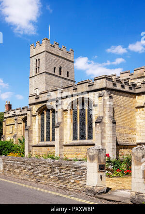 The vibrant and attractive south fascade of St. Georges Evangelical Anglican Church, Stamford, Lincolnshire, UK - Stock Image