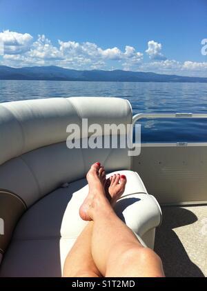 Boat ride on Flathead Lake, Montana U.S.A. - Stock Image