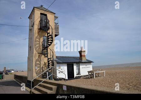The South Lookout on the beach in the Suffolk coastal town of Aldeburgh - Stock Image