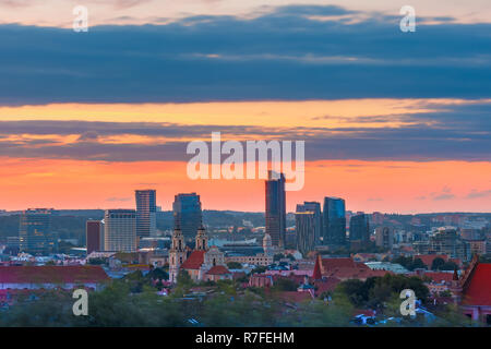 Old town and skyscrapers, Vilnius, Lithuania - Stock Image