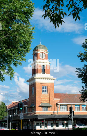 The red brick Colonial Mutual Life Assurance building in Albury, Australia. - Stock Image