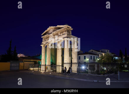 The gate of Athena Archegetis in the Roman Market in Athens Greece.This entrance to the Agora is composed of four Doric columns - Stock Image
