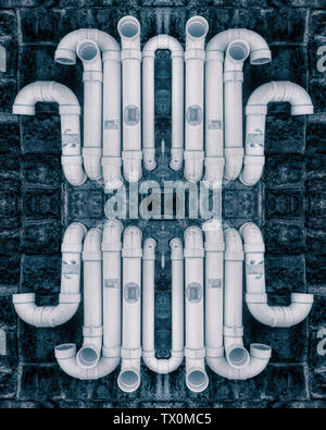An abstract artwork featuring many white PVC pipes in a curvy design - Stock Image