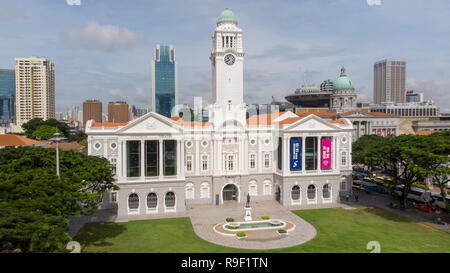The clock tower of the Victoria Theatre and Concert hall, Singapore. drone photography - Stock Image