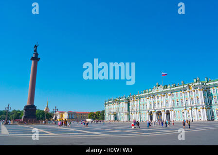 Palace Square, with Alexander Column, Saint Petersburg, Russia - Stock Image
